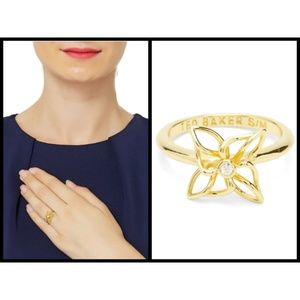 TED BAKER Rose Gold Crystal Mini Windmill Ring